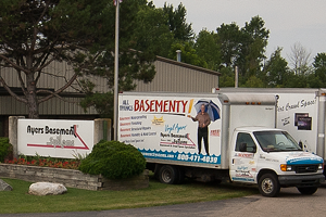 Ayers Basement Systems truck in Lansing, MI